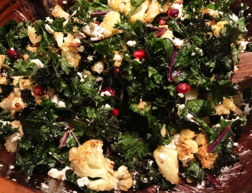warm roasted cauliflower and kale winter salad